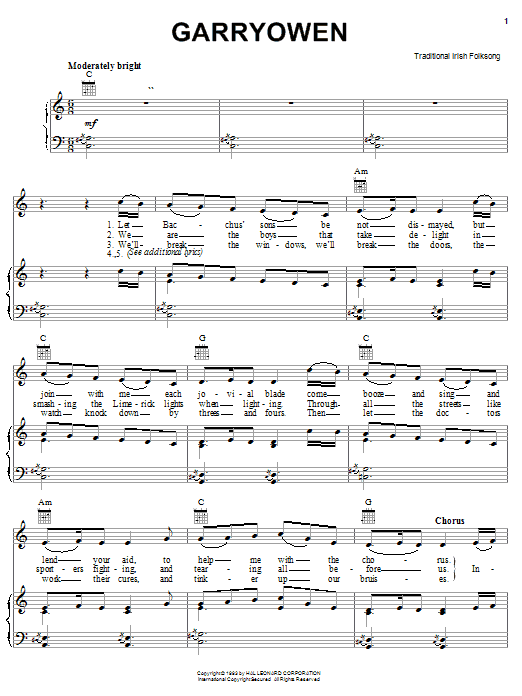 Traditional Gary Owen sheet music notes and chords. Download Printable PDF.