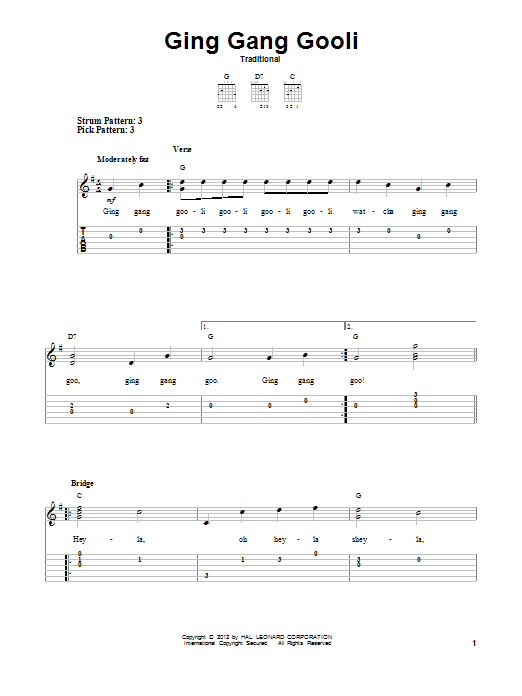 Traditional Ging Gang Gooli sheet music notes and chords. Download Printable PDF.