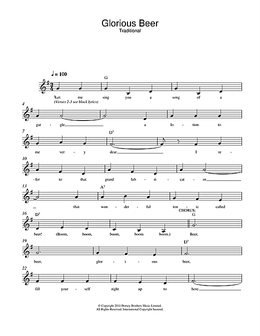 Traditional Glorious Beer sheet music notes and chords. Download Printable PDF.