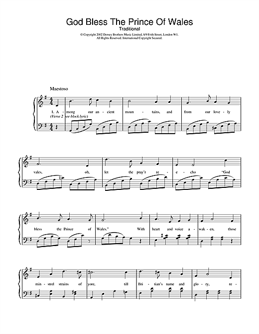 Traditional God Bless The Prince Of Wales sheet music notes and chords