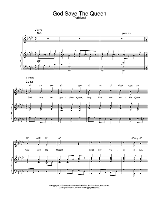 Traditional God Save The Queen (UK National Anthem) sheet music notes and chords. Download Printable PDF.