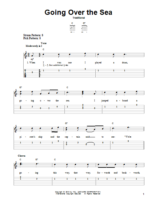 Traditional Going Over The Sea sheet music notes and chords. Download Printable PDF.