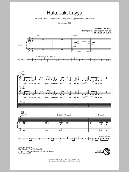 Traditional Hala Lala Layya (arr. Audrey Snyder) sheet music notes and chords