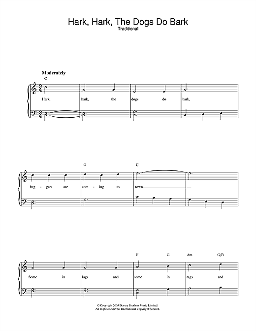 Traditional Hark Hark The Dogs Do Bark sheet music notes and chords. Download Printable PDF.