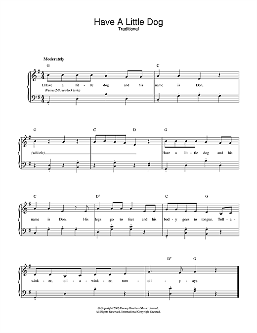 Traditional Have A Little Dog sheet music notes and chords. Download Printable PDF.
