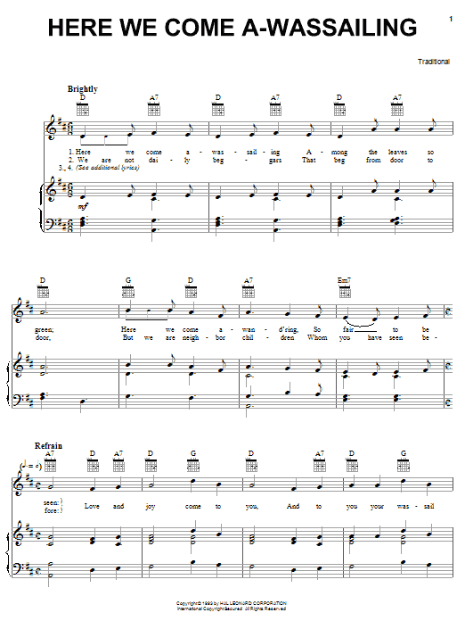 Traditional Here We Come A-Wassailing sheet music notes and chords. Download Printable PDF.