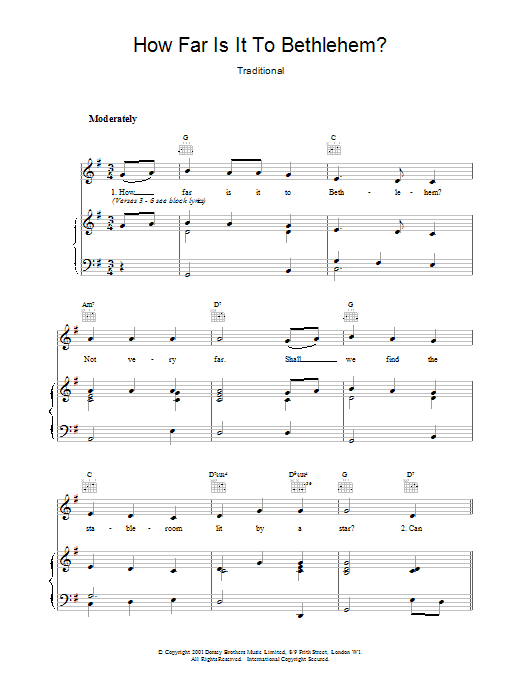 Christmas Carol How Far Is It To Bethlehem? sheet music notes and chords. Download Printable PDF.