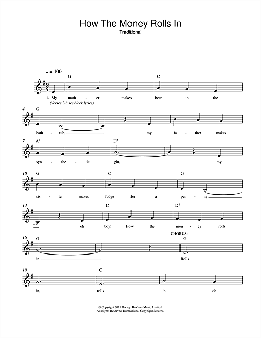 Traditional How The Money Rolls In sheet music notes and chords. Download Printable PDF.