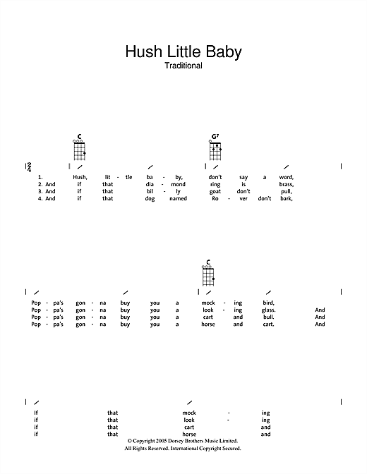 Traditional Hush Little Baby sheet music notes and chords