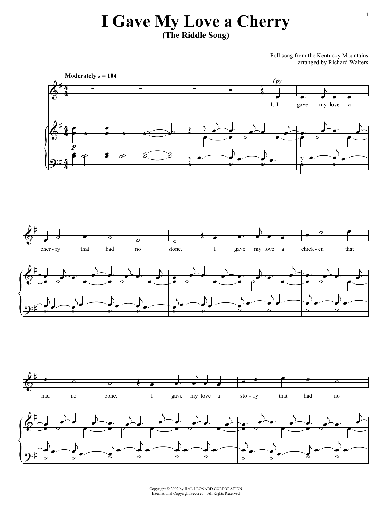 Traditional I Gave My Love A Cherry (The Riddle Song) sheet music notes and chords. Download Printable PDF.