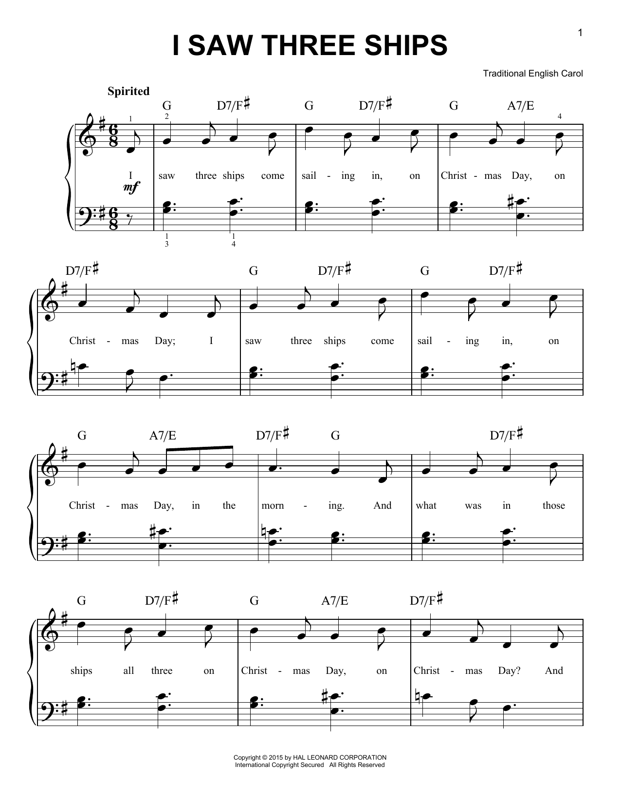 Traditional I Saw Three Ships sheet music notes and chords. Download Printable PDF.