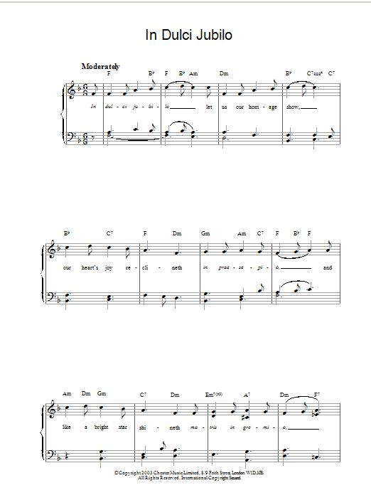 Christmas Carol In Dulci Jubilo sheet music notes and chords. Download Printable PDF.