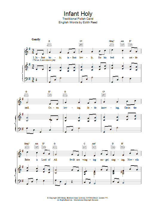 Christmas Carol Infant Holy sheet music notes and chords. Download Printable PDF.
