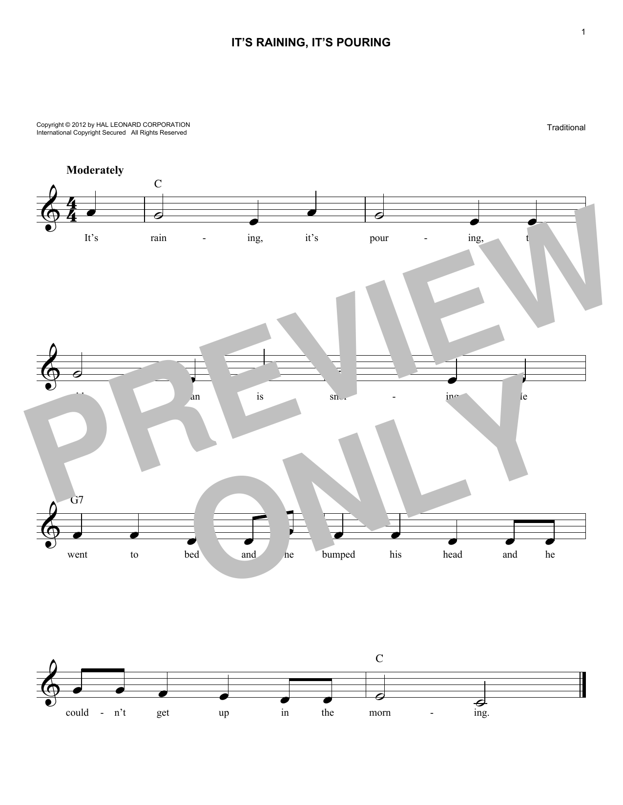 Traditional It's Raining, It's Pouring sheet music notes and chords. Download Printable PDF.