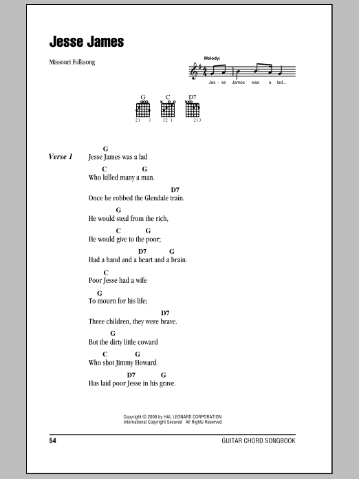 Traditional Jesse James sheet music notes and chords. Download Printable PDF.