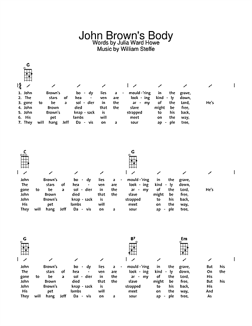 Traditional John Brown's Body sheet music notes and chords. Download Printable PDF.