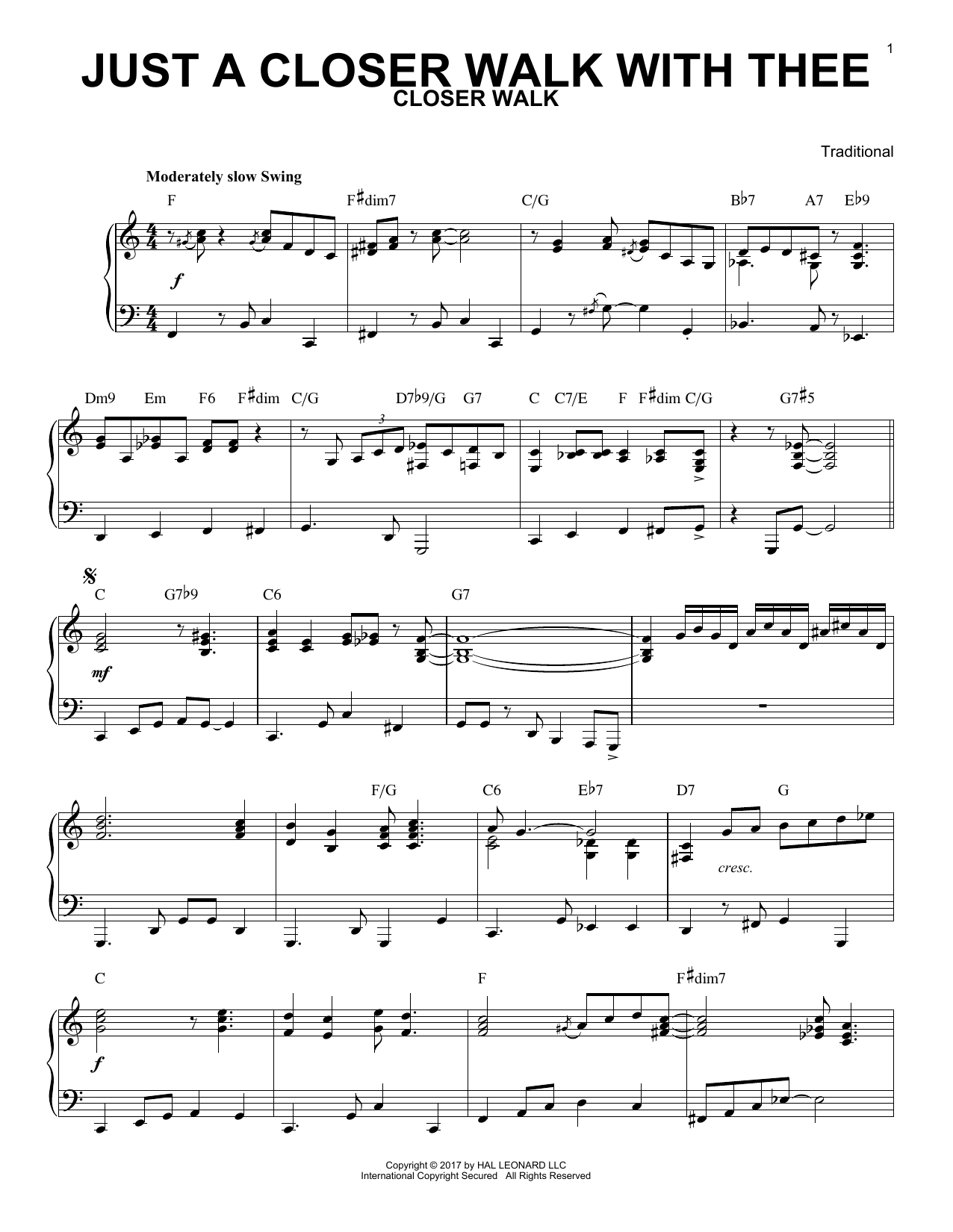 Traditional Just A Closer Walk With Thee [Jazz version] sheet music notes and chords. Download Printable PDF.