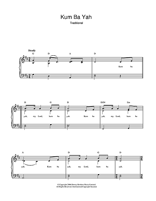 Traditional Kum Ba Yah sheet music notes and chords