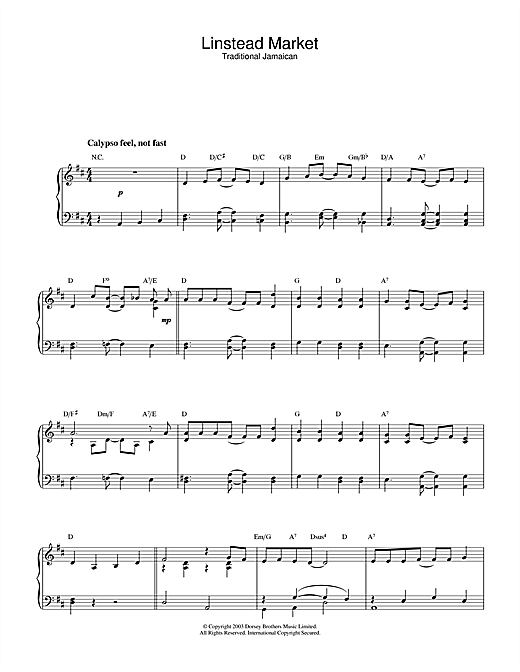 Traditional Linstead Market sheet music notes and chords