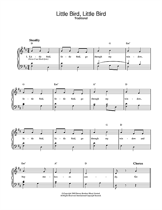 Traditional Little Bird, Little Bird sheet music notes and chords. Download Printable PDF.