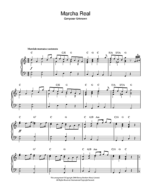 Traditional Marcha Real (Spanish National Anthem) sheet music notes and chords