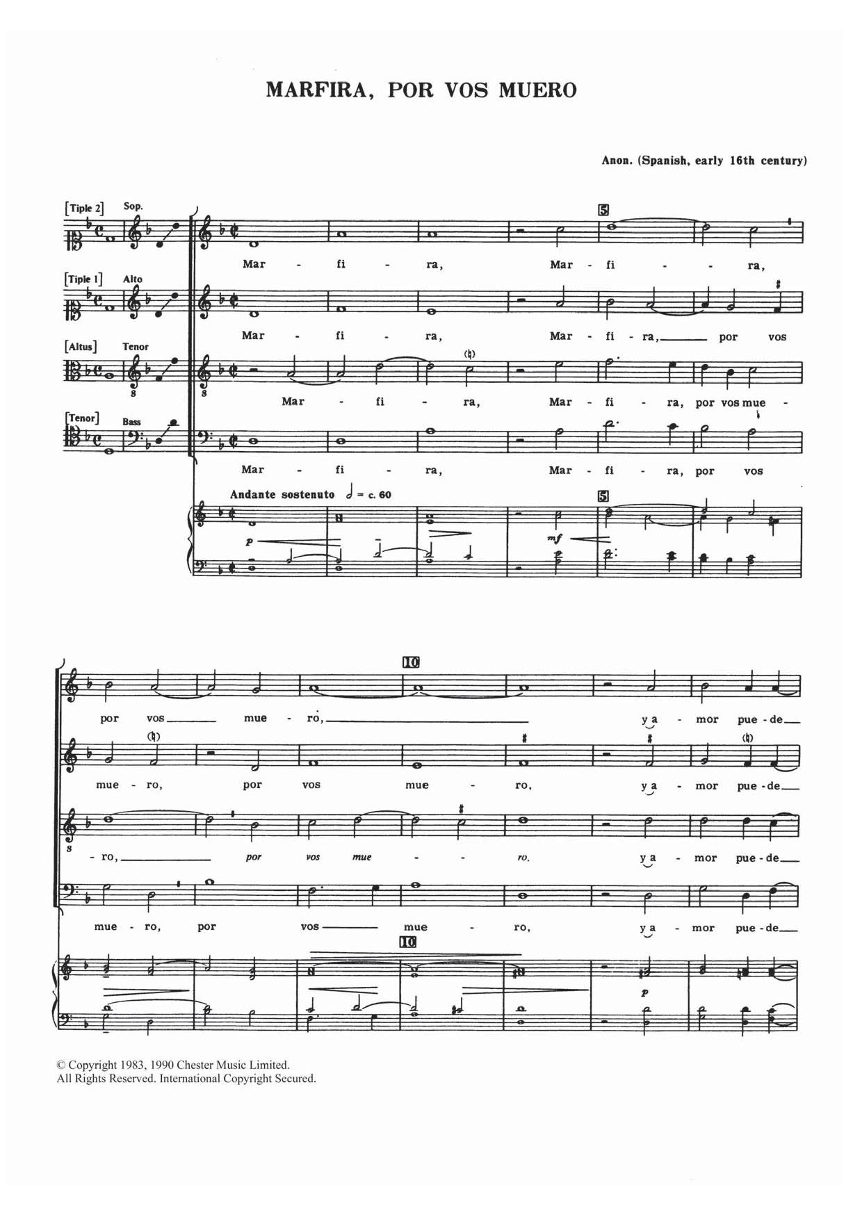 Traditional Marfira, Por Vos Muero sheet music notes and chords. Download Printable PDF.