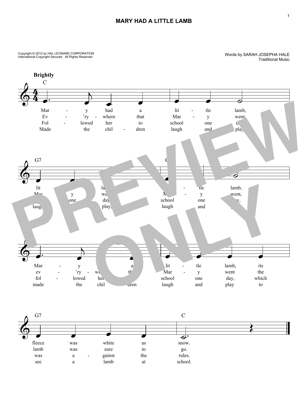 Traditional Mary Had A Little Lamb sheet music notes and chords. Download Printable PDF.