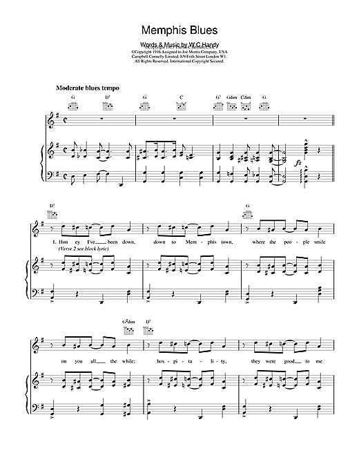 Traditional Memphis Blues sheet music notes and chords