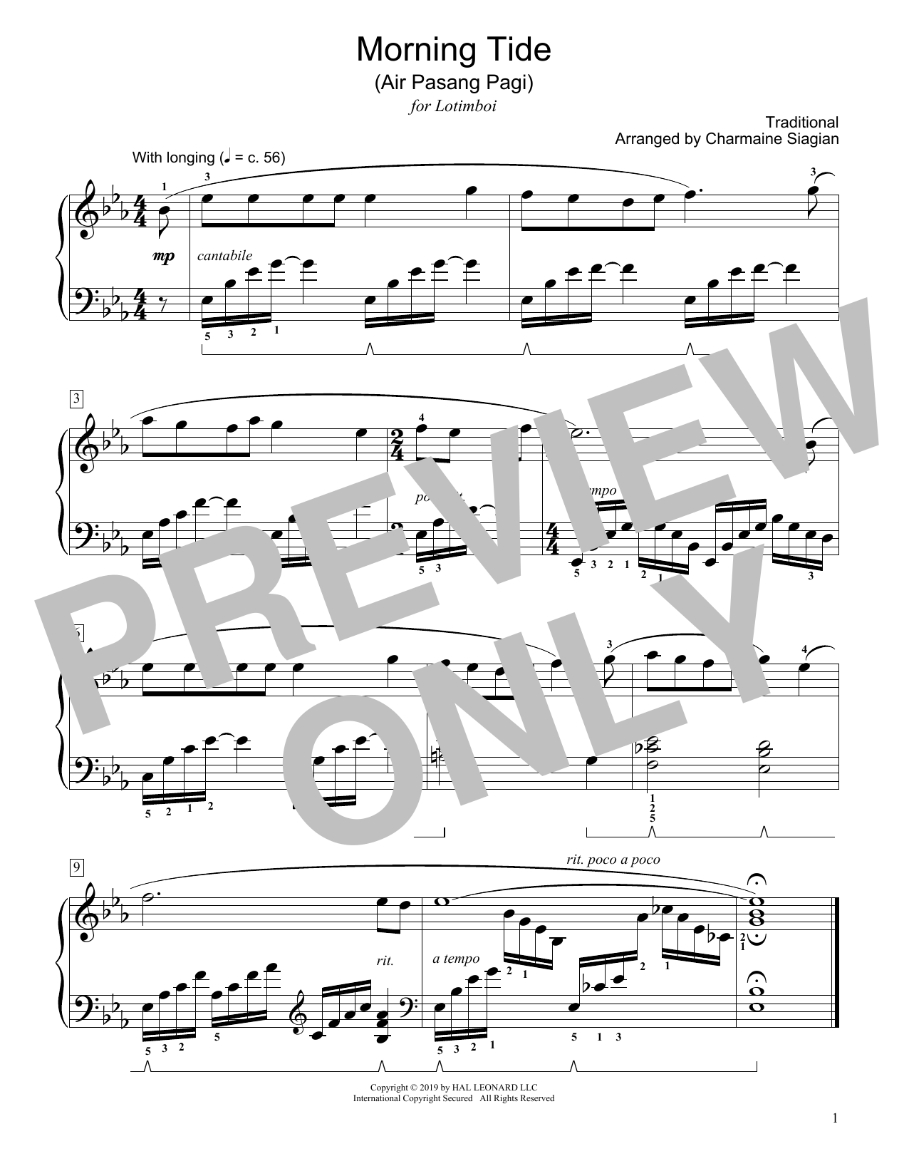 Traditional Morning Tide (Air Pasang Pagi) (arr. Charmaine Siagian) sheet music notes and chords. Download Printable PDF.