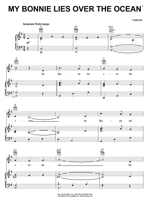 Traditional 'My Bonnie Lies Over The Ocean' Sheet Music Notes, Chords |  Download Printable Piano, Vocal & Guitar (Right-Hand Melody) - SKU: 16786