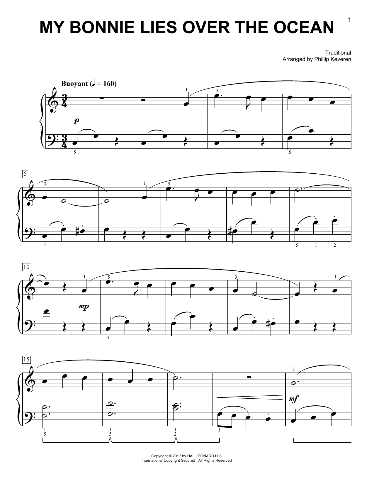 Traditional My Bonnie Lies Over The Ocean [Classical version] (arr. Phillip Keveren) sheet music notes and chords. Download Printable PDF.