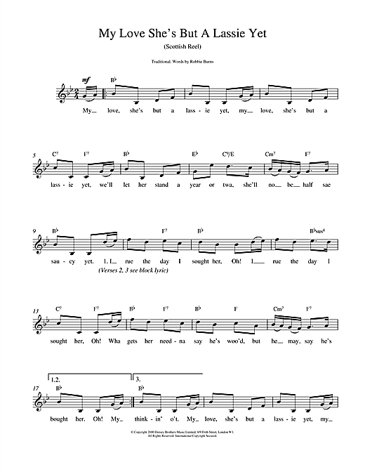 Traditional My Love She's But A Lassie Yet sheet music notes and chords. Download Printable PDF.