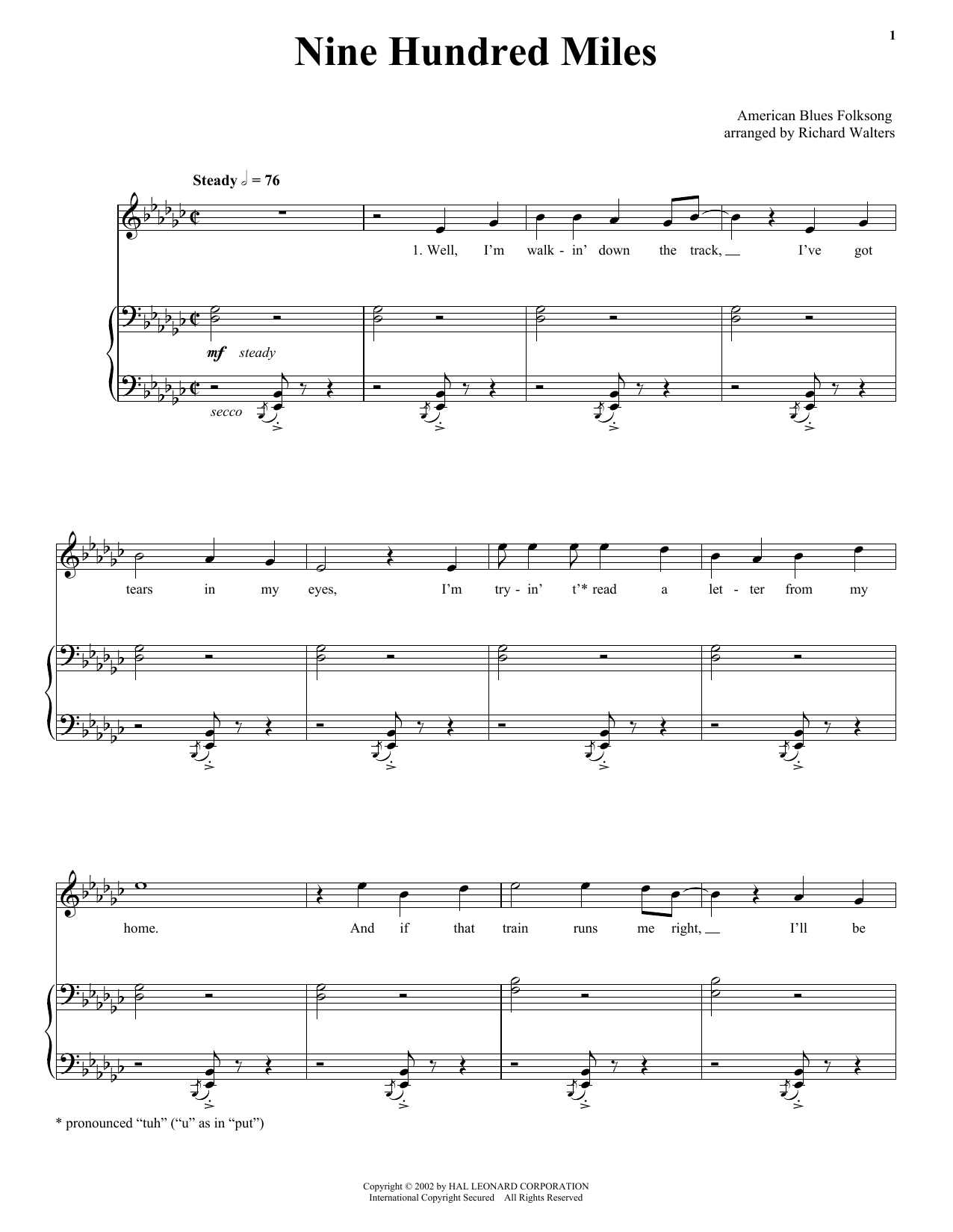 Traditional Nine Hundred Miles sheet music notes and chords. Download Printable PDF.