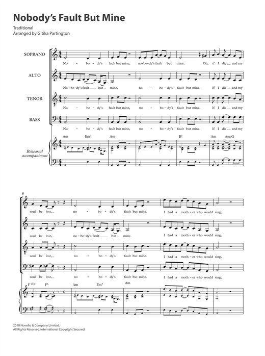 Traditional Nobody's Fault But Mine (arr. Gitika Partington) sheet music notes and chords. Download Printable PDF.