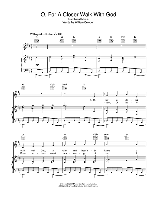 Traditional O, For A Closer Walk With God sheet music notes and chords. Download Printable PDF.