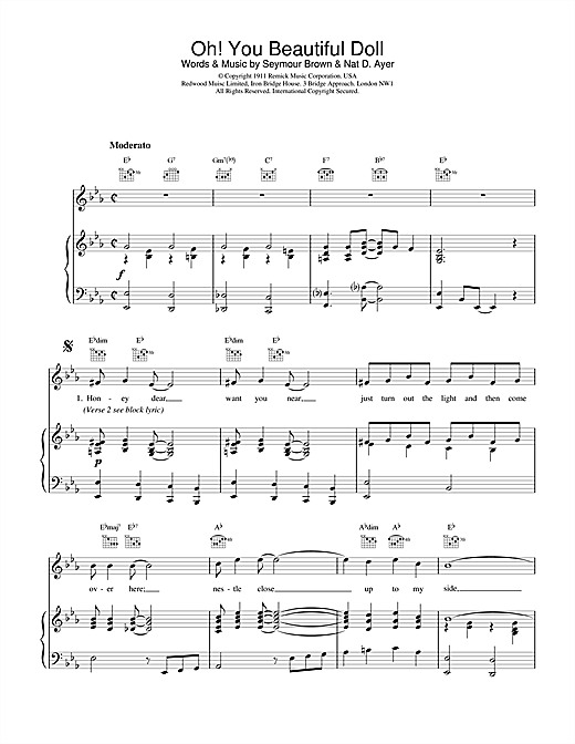 Traditional Oh! You Beautiful Doll sheet music notes and chords
