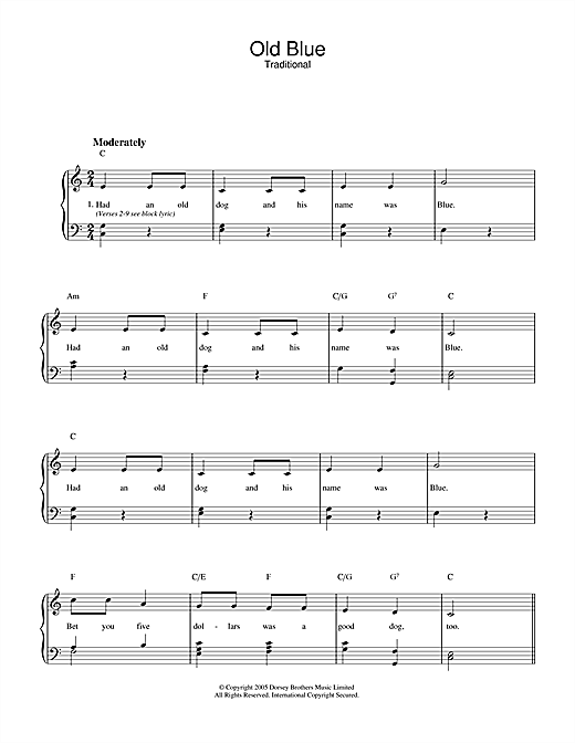 Traditional Old Blue sheet music notes and chords. Download Printable PDF.