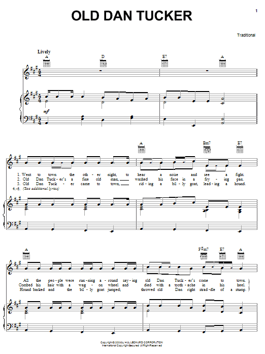 Traditional Old Dan Tucker sheet music notes and chords. Download Printable PDF.