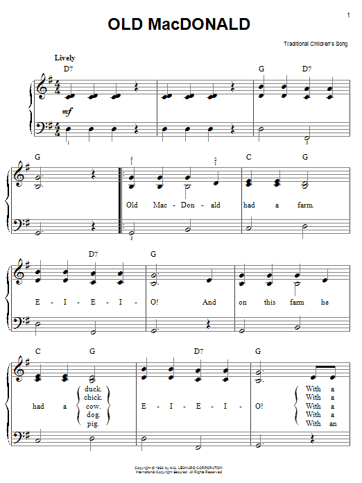 Traditional Old MacDonald sheet music notes and chords. Download Printable PDF.