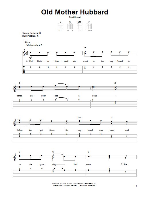 Traditional Old Mother Hubbard sheet music notes and chords. Download Printable PDF.