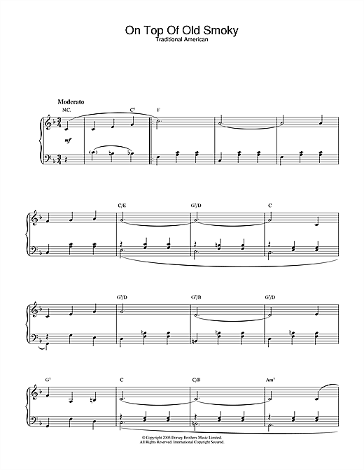 Traditional On Top Of Old Smoky sheet music notes and chords. Download Printable PDF.