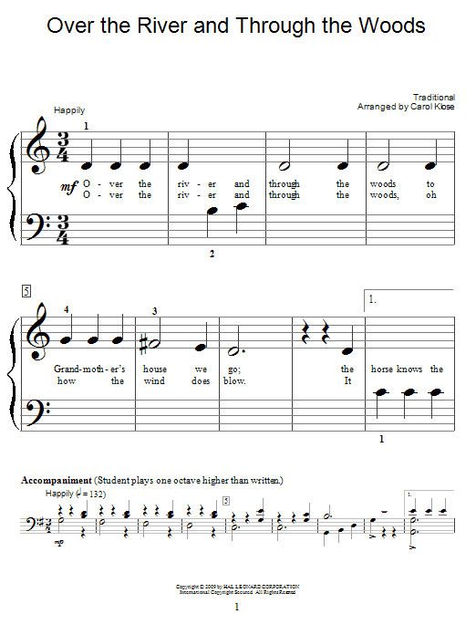 Traditional Over The River And Through The Woods sheet music notes and chords. Download Printable PDF.