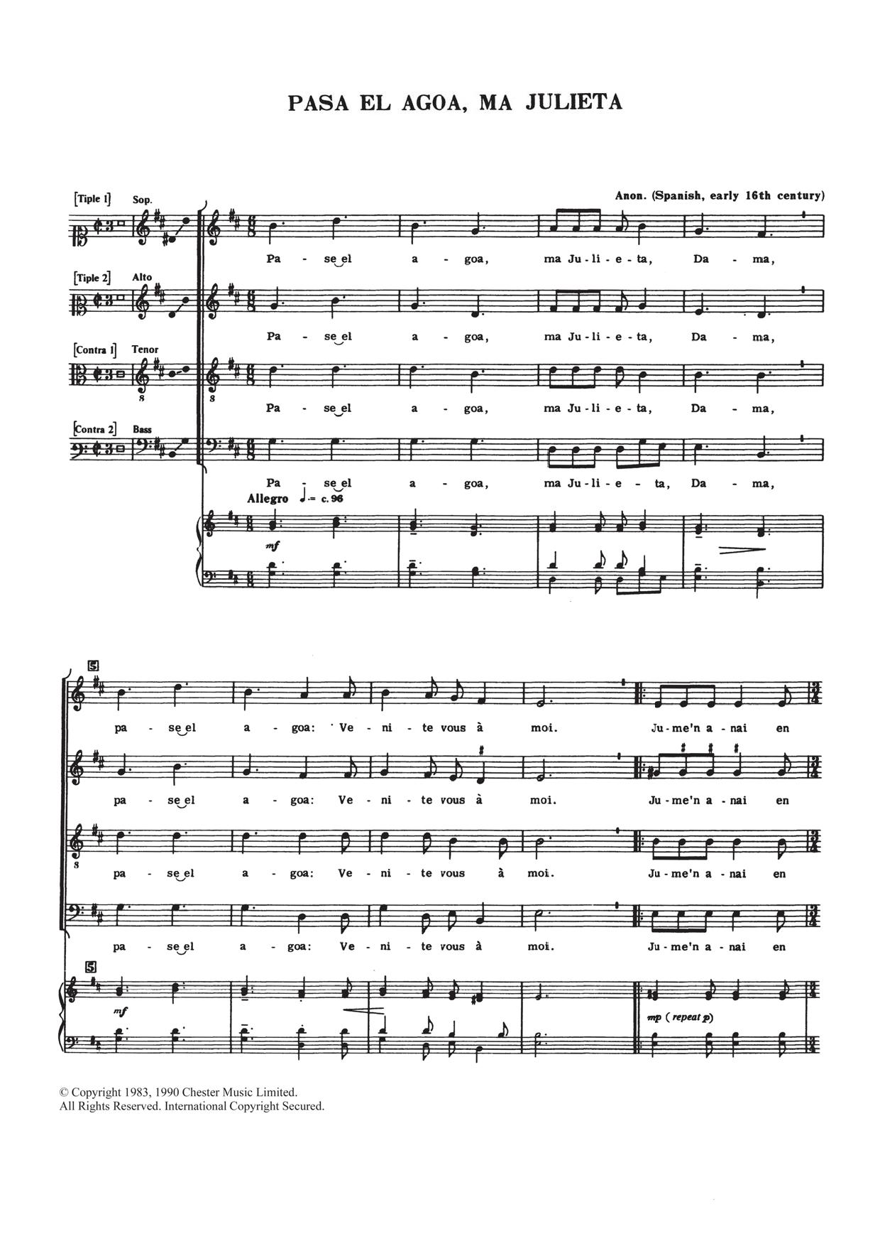 Traditional Pase El Agoa, Ma Julieta sheet music notes and chords. Download Printable PDF.