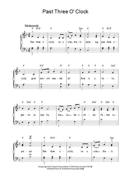 Christmas Carol Past Three O'Clock sheet music notes and chords. Download Printable PDF.