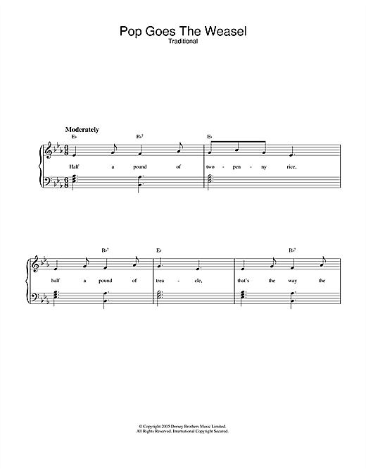 Traditional Pop Goes The Weasel sheet music notes and chords. Download Printable PDF.