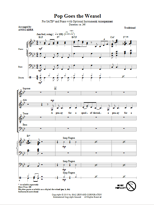 Traditional Pop Goes The Weasel (arr. Anita Kerr) sheet music notes and chords