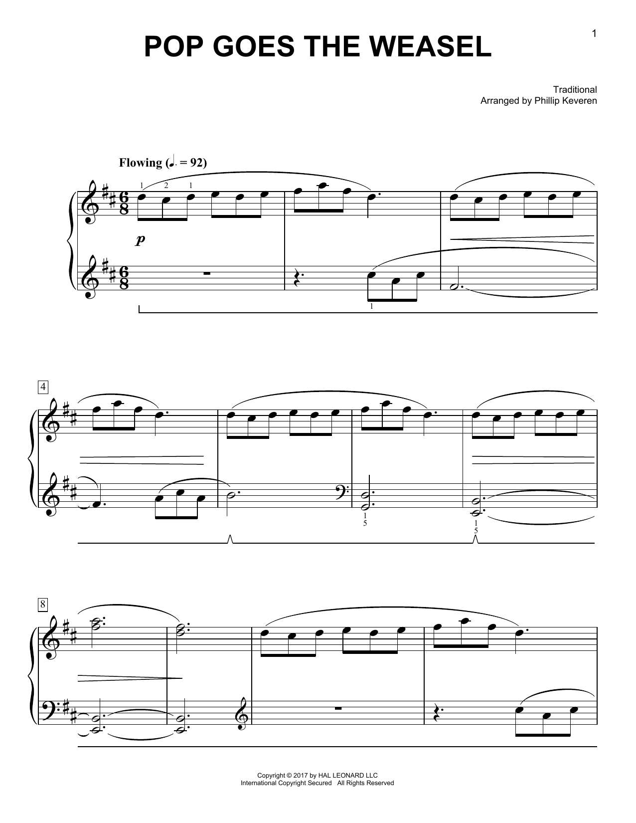 Traditional Pop Goes The Weasel [Classical version] (arr. Phillip Keveren) sheet music notes and chords. Download Printable PDF.