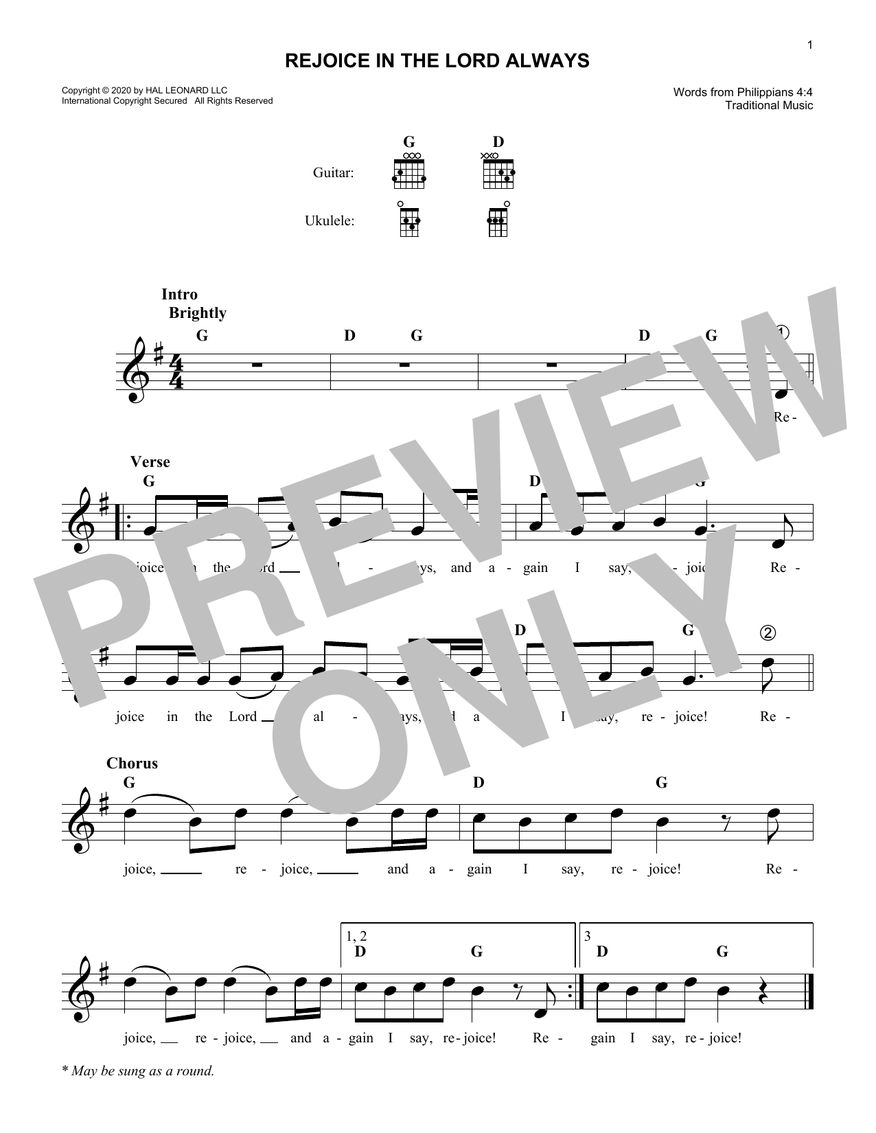 Traditional Rejoice In The Lord Always sheet music notes and chords. Download Printable PDF.