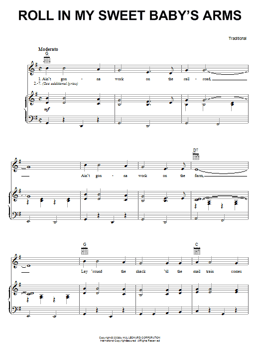 Traditional Roll In My Sweet Baby's Arms sheet music notes and chords. Download Printable PDF.