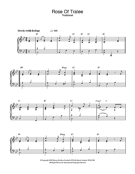 Traditional Rose Of Tralee sheet music notes and chords. Download Printable PDF.